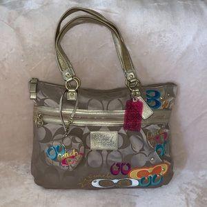 Coach Daisy Poppy Pop C Applique Glam Tote Bag
